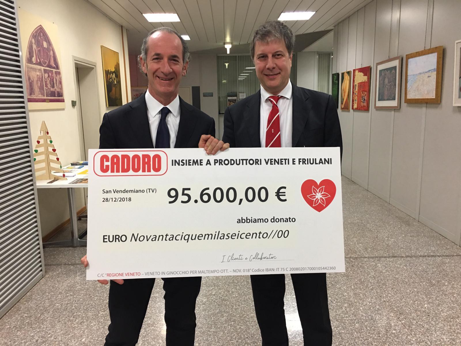 """Donati  oltre 95.000€  alla regione veneto """"emergenza maltempo ottobre/ novembre 2018"""""""