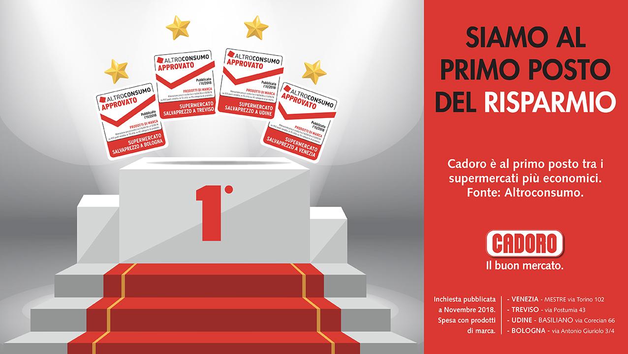Cadoro, al primo posto nel risparmio a Venezia, Treviso, Udine e Bologna secondo l'inchiesta Altrocomsumo.